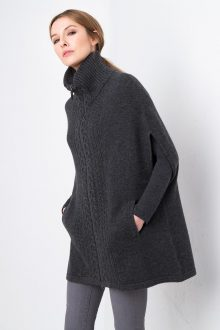 Luxe Cable Zip Poncho Kinross Cashmere