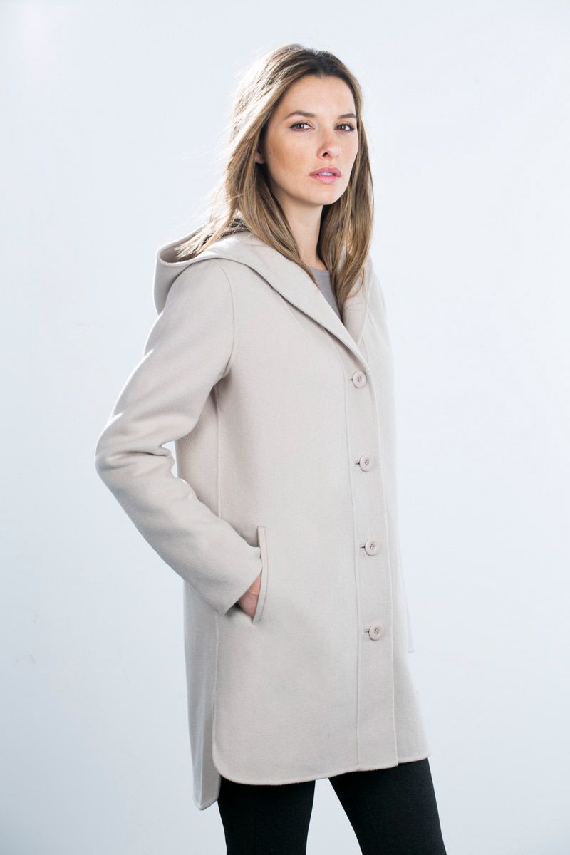 Hooded Button Front Coat - Kinross Cashmere