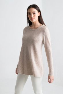 Rib Swing Pullover - Fawn Kinross Cashmere 100% Cashmere
