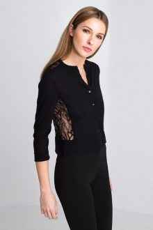 Cropped Lace Cardigan Kinross Cashmere 100% Cashmere