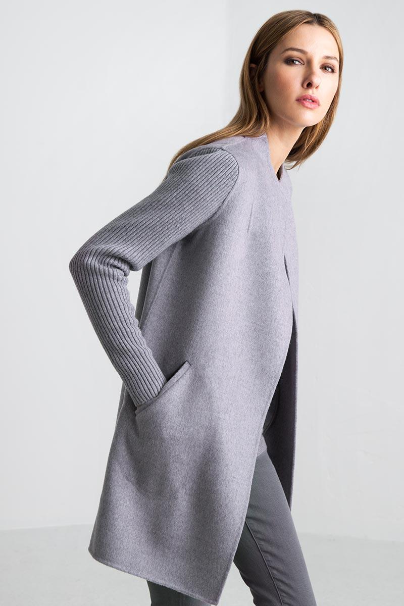 Ribbed Sleeve Coat - Thistle - Kinross Cashmere