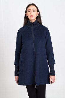 Zip Mockneck Coat w/ Rib Detail - Dusk Kinross Cashmere 100% Cashmere