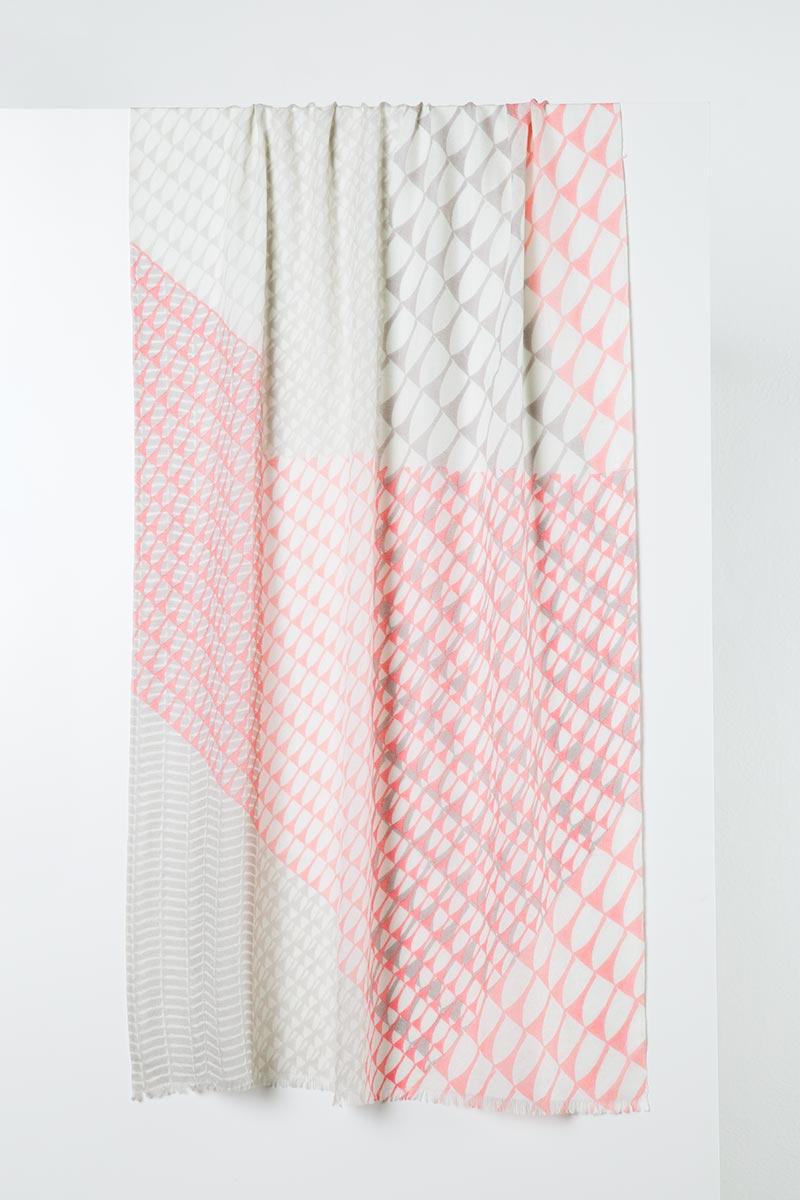 Printed Stripe Scarf - Sterling Kinross Cashmere 100% Cashmere