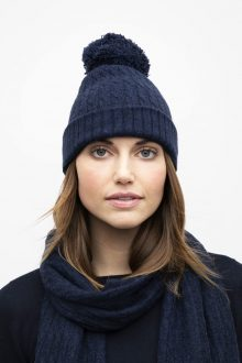 Cable Scarf & Cable Pompom Hat - Kinross Cashmere