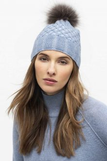 Fur Pom Plaited Cable Hat - Kinross Cashmere