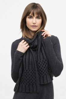 Plaited Cable Trim Scarf - Kinross Cashmere