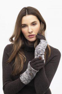 Leopard Trim Glove - Kinross Cashmere