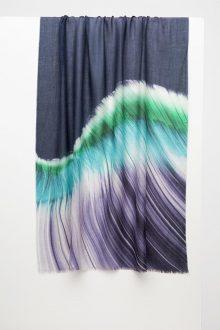 Barcelona Brushstroke Print Scarf - Verde - Kinross Cashmere