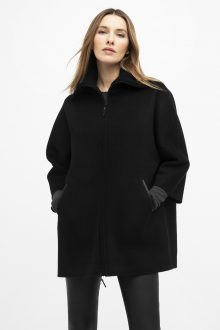 Leather Trim Zip Mock Jacket - Kinross Cashmere