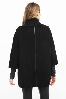 Leather Trim Zip Mock Jacket - Kinross Cashmere