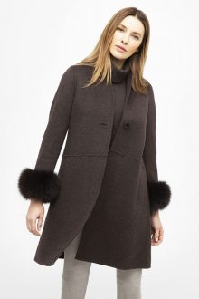 Fur Cuff Swing Coat - Kinross Cashmere