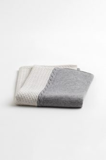 Colorblock Cable Throw - Kinross Cashmere
