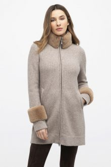 Faux Fur Trim Textured Cardigan - Kinross Cashmere
