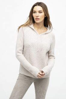 Rib Hooded Pullover - Kinross Cashmere
