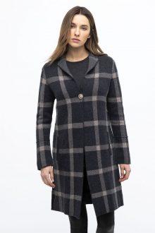 Dbl Knit Plaid Notch Collar Cardigan - Kinross Cashmere