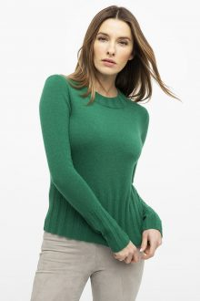 Rib Trim High Crew - Kinross Cashmere