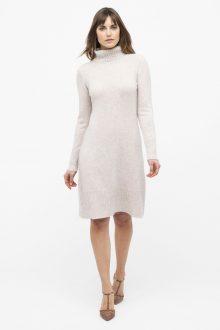 Ruffled Hem T-Neck Dress - Kinross Cashmere