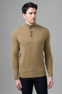Suede Trim Button Mock - Kinross Cashmere