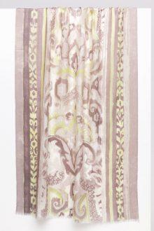 Fleur de Lis Print Scarf - Birch - Kinross Cashmere