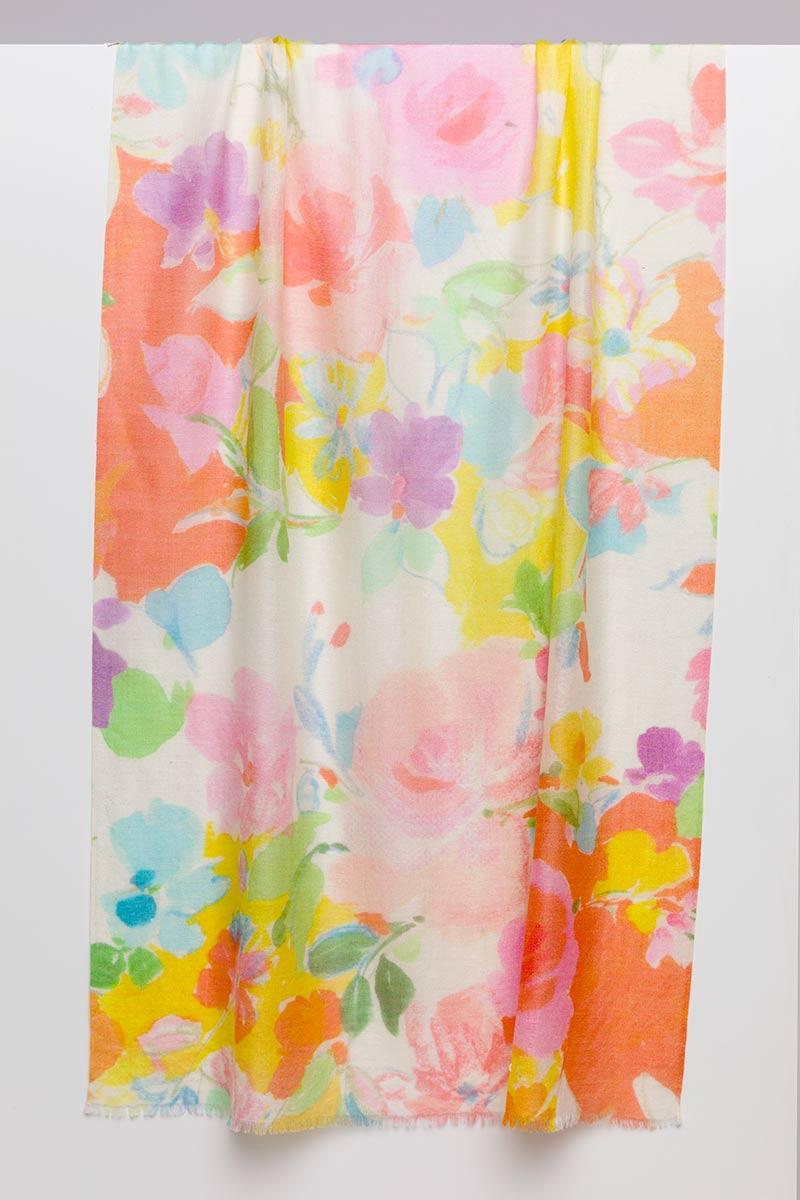Bouquet Print Scarf - Kinross Cashmere