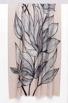 Botanical Leaf Print Scarf - Birch Multi - Kinross Cashmere