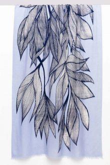 Botanical Leaf Print Scarf - Iris Multi - Kinross Cashmere