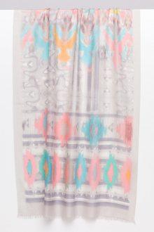 Filigree Ikat Print Scarf - Birch Multi - Kinross Cashmere