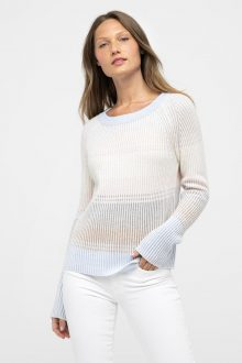 Plaited Stripe Boatneck - Kinross Cashmere