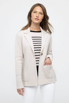 DBL Knit Notch Collar Cardigan - Kinross Cashmere