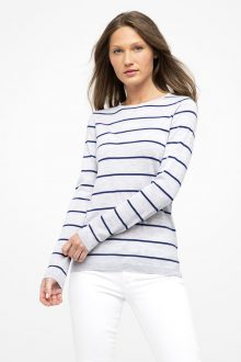 Worsted Stripe Crew - Kinross Cashmere