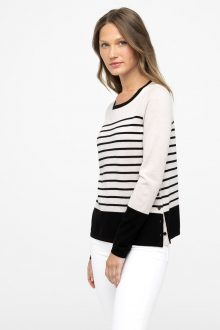 Worsted Side Button Stripe Pullover - Kinross Cashmere