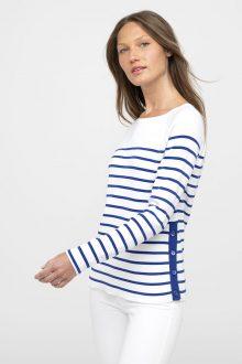 Side Button Stripe Pullover - Kinross Cashmere