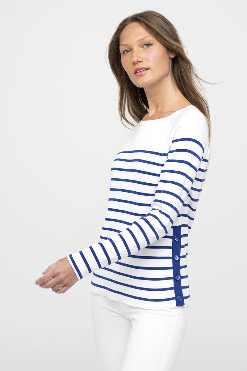 Side Button Stripe Pullover - Kinross Cashmere