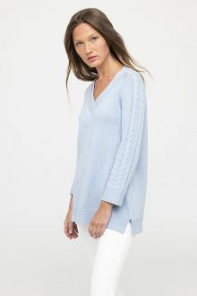 Cable Sleeve Swing Vee - Kinross Cashmere