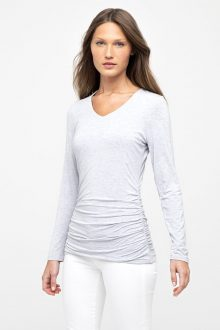 Ruched L/S Vee - Kinross Cashmere