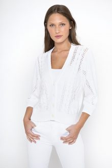 Crop Cable Cardigan - Kinross Cashmere