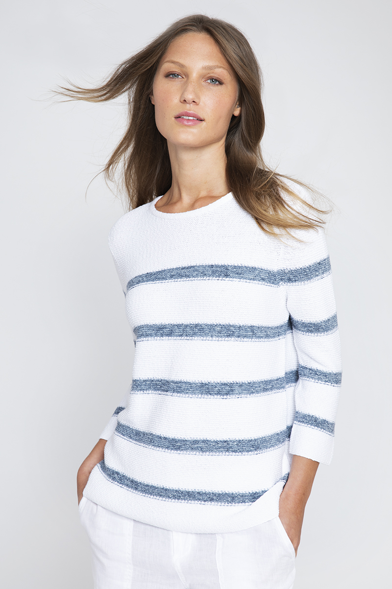 Texture Stripe Pullover - Kinross Cashmere