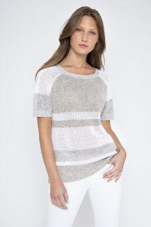 S/S Mesh Stripe Pullover - Kinross Cashmere