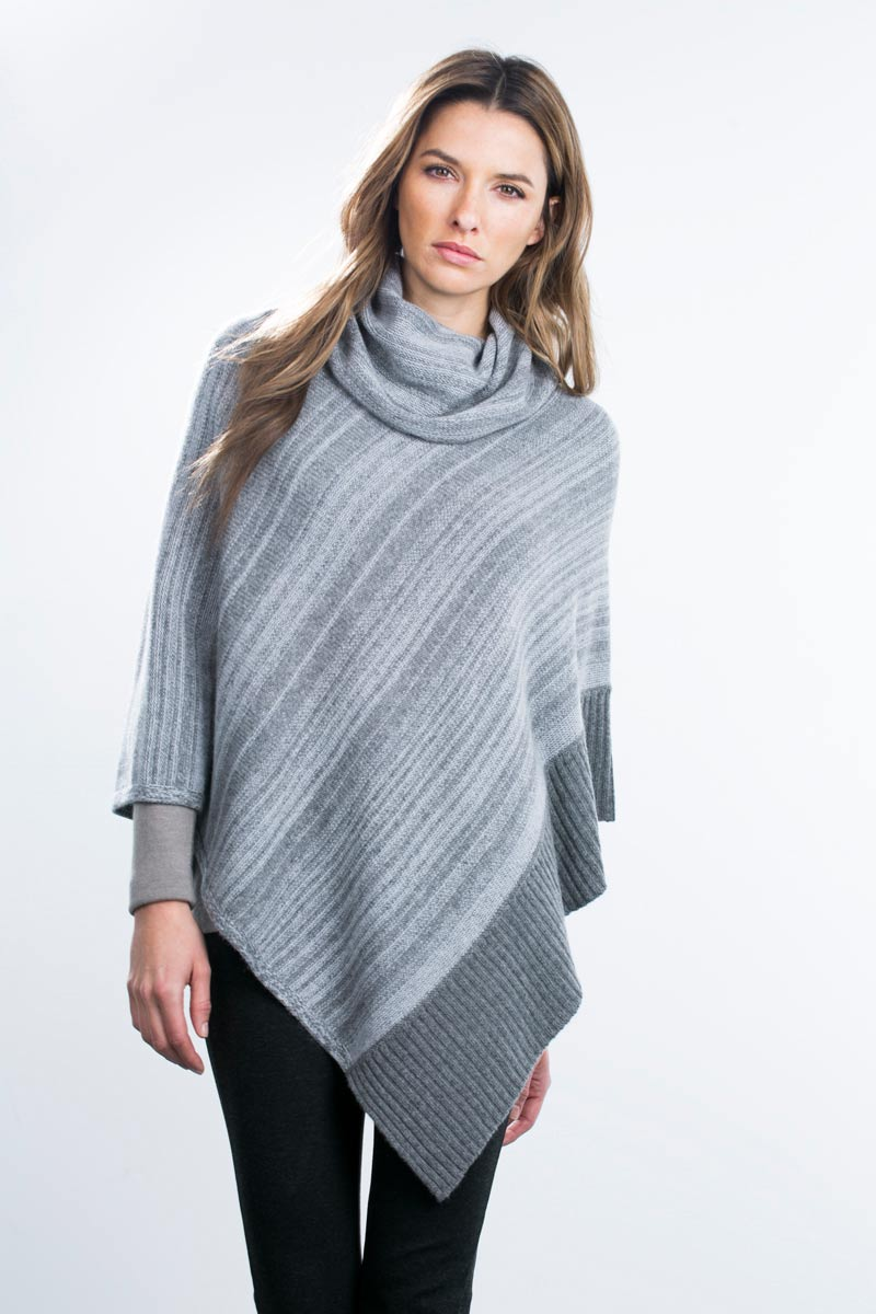 Kinross Cashmere | Marled Cowl Neck Poncho