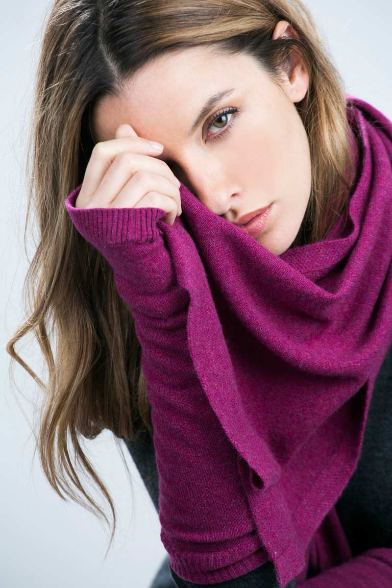 Cashmere Long Texting Gloves - Mulberry