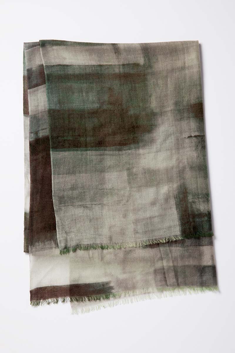 Kinross Cashmere | Watercolor Squares Print Scarf