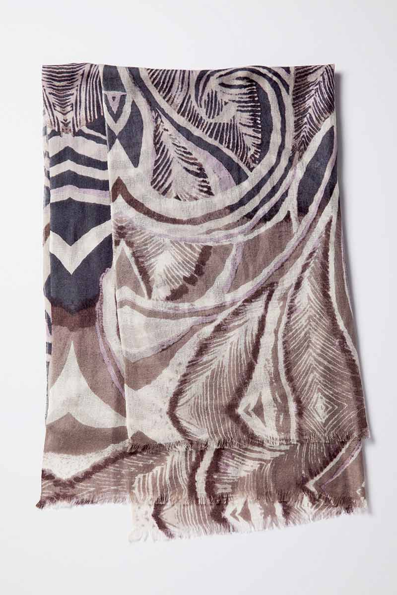 Kinross Cashmere | Feather Paisley Print Scarf
