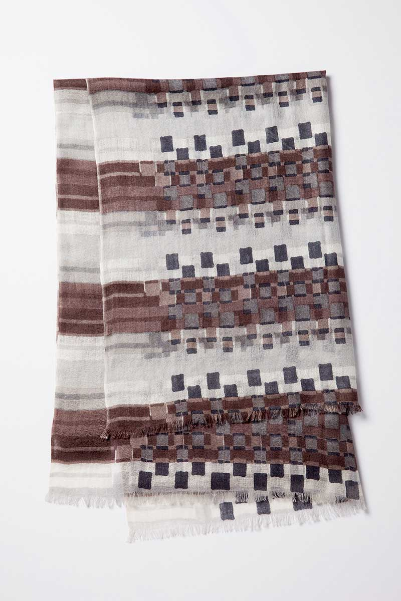 Kinross Cashmere | Modern Abstract Print Scarf