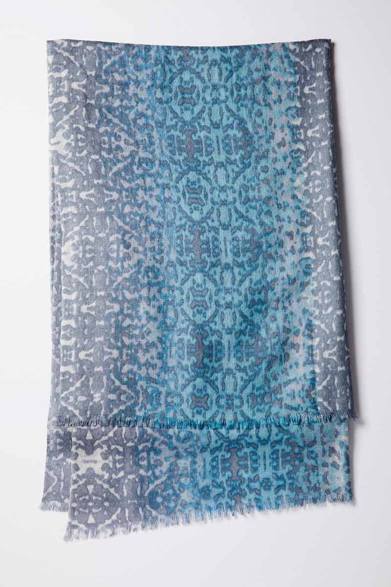 Kinross Cashmere | Ombre Ikat Print Scarf