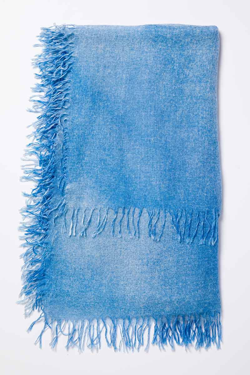Kinross Cashmere | Resort 2015 | Ombre Spray Print Scarf Marina