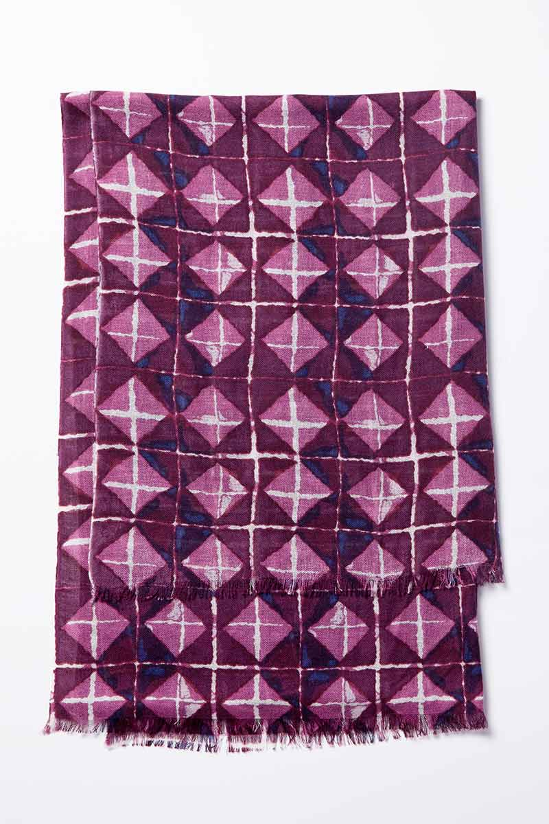 Kinross Cashmere | Resort 2015 Accessories | Beach Tile Printed Scarf