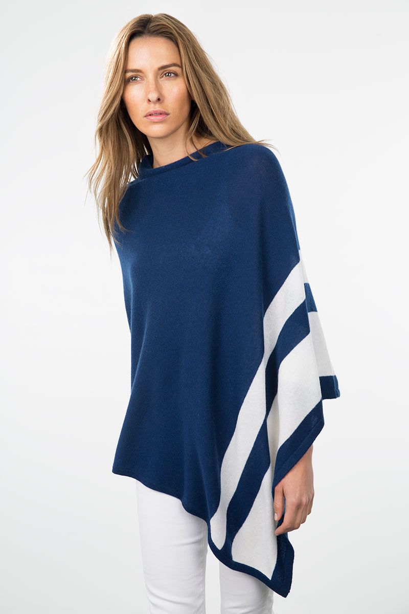 Kinross Cashmere | Resort 2015 | Stripe Border Poncho