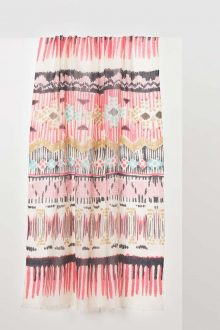 Painted Ikat Print Scarf - Pink Frost Multi Kinross Cashmere 100% Cashmere