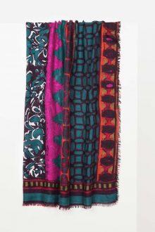 Patchwork Print Scarf - Wild Violet Multi Kinross Cashmere