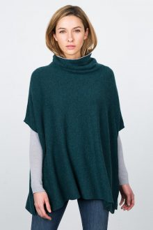 Contrast Cowl Poncho - Pine / Dove Kinross Cashmere